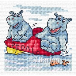 Hippo pedalo (cross stitch chart download)