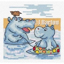 Hippos waterhole (cross stitch chart download)