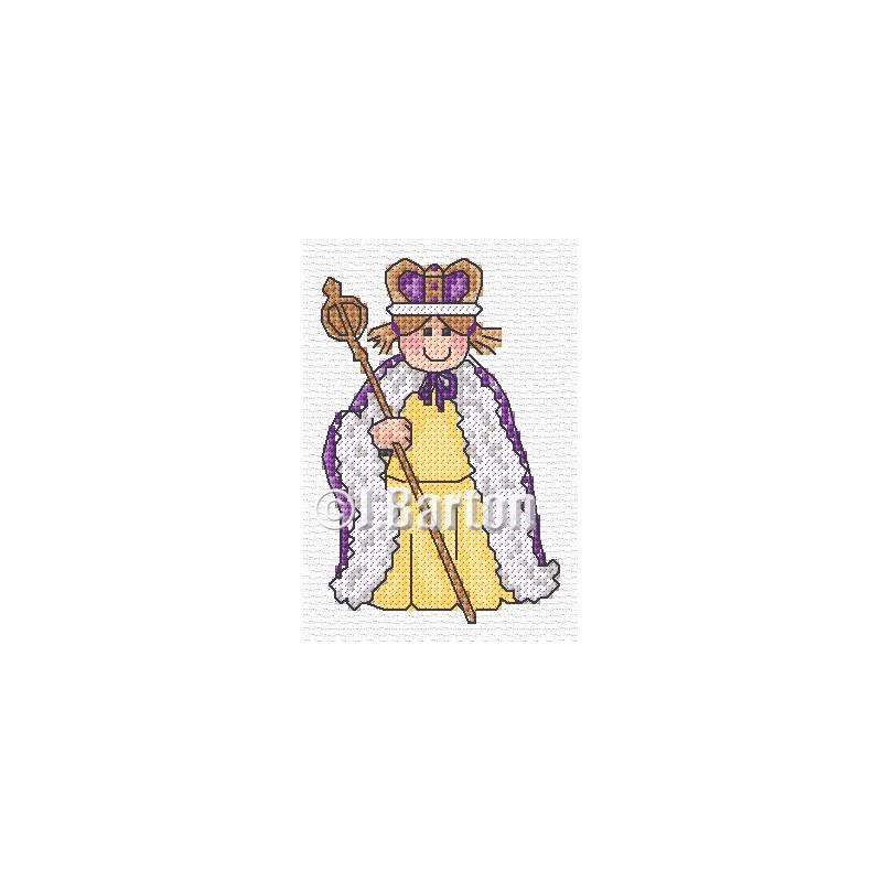 Fancy dress Queen (cross stitch chart download)