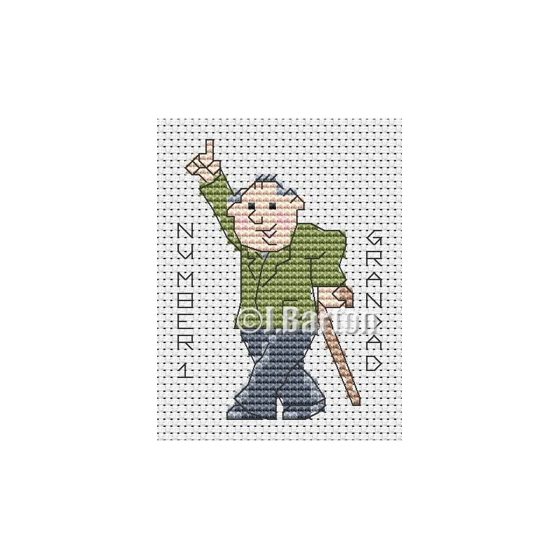 Number 1 grandad (cross stitch chart download)