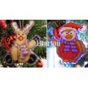 Happy Rudolph and robin (cross stitch chart download)