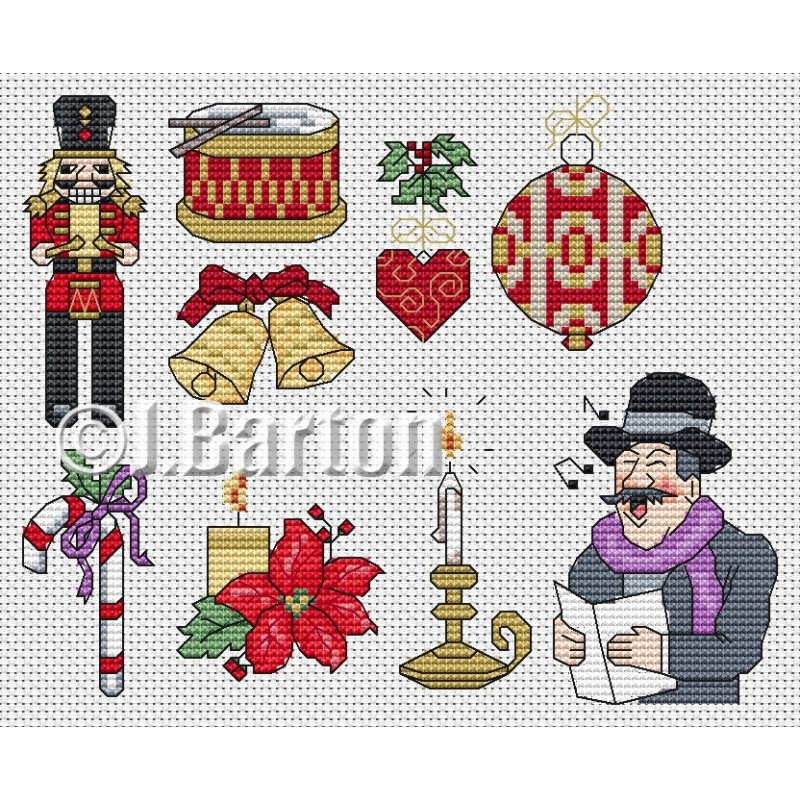 Vintage Christmas motifs (cross stitch chart download)
