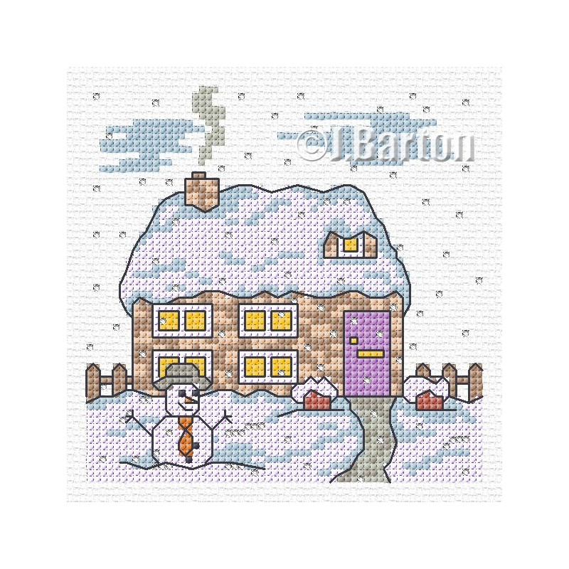 Cottage snow scene (cross stitch chart download)