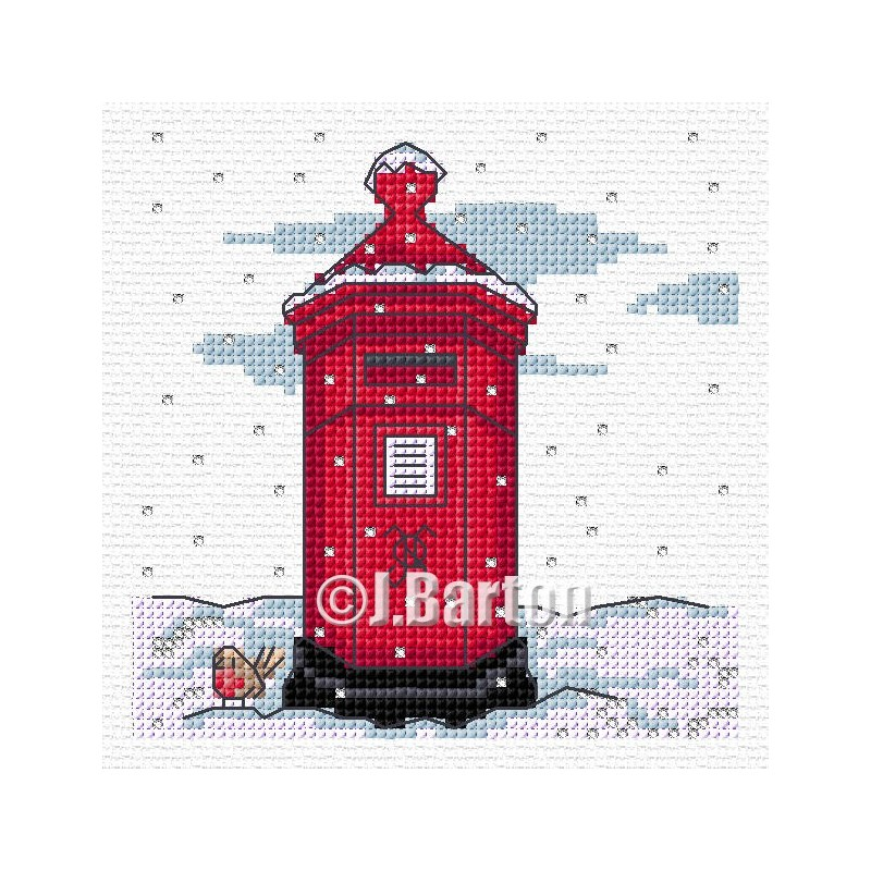 Winter postbox (cross stitch chart download)