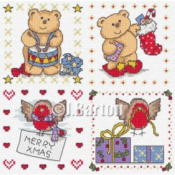 Christmas robins and teddies (cross stitch chart download)