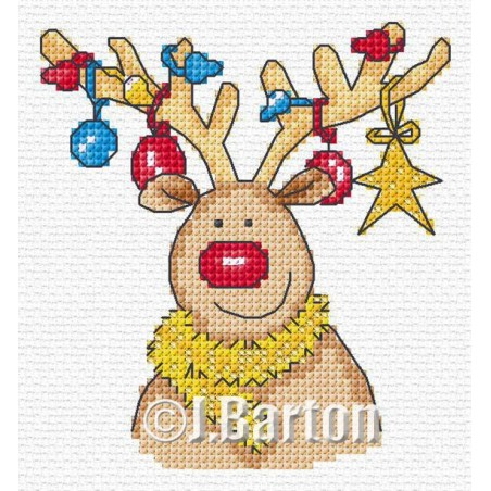 Rudolph's decorations (cross stitch chart download)