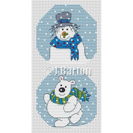 Snowman and polar bear (cross stitch chart download)