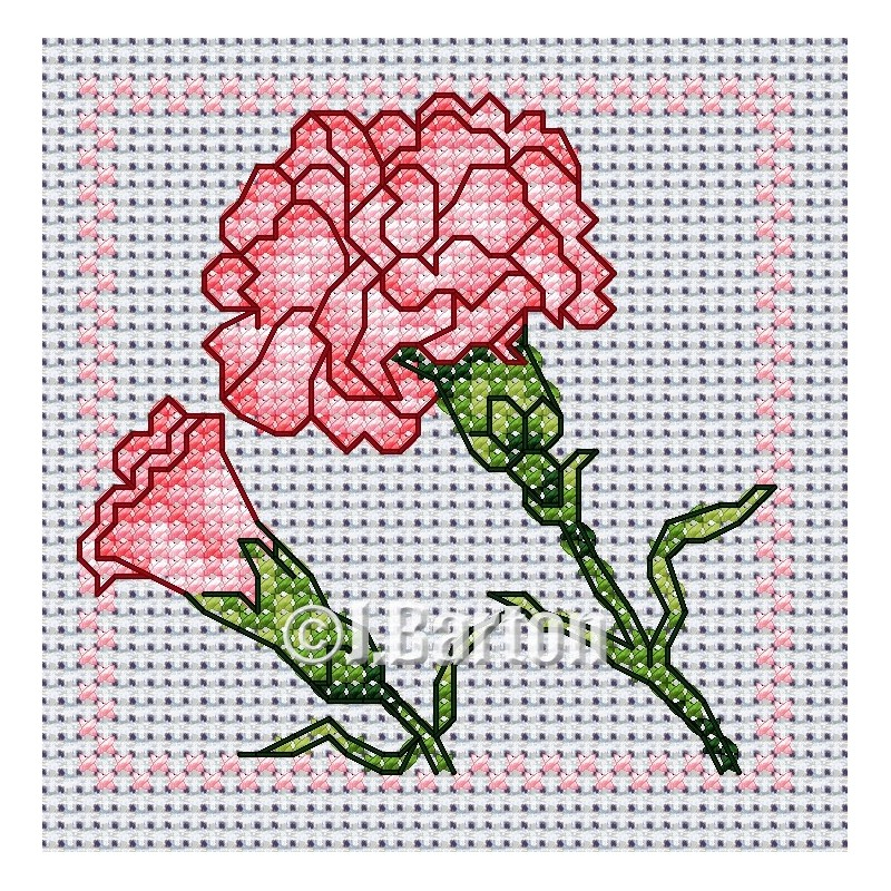 Pink carnation cross stitch chart