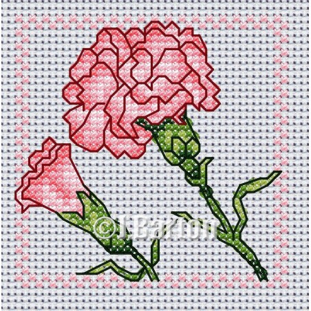 Carnation (cross stitch chart download)