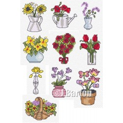 Flower selection cross stitch chart