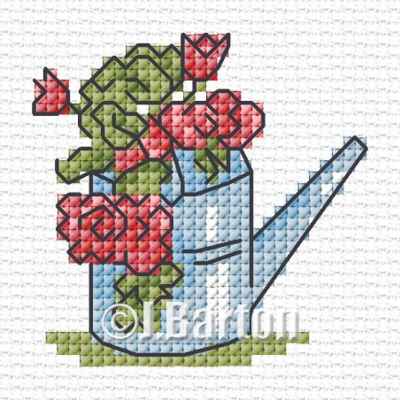 Floral watering can (cross stitch chart download)