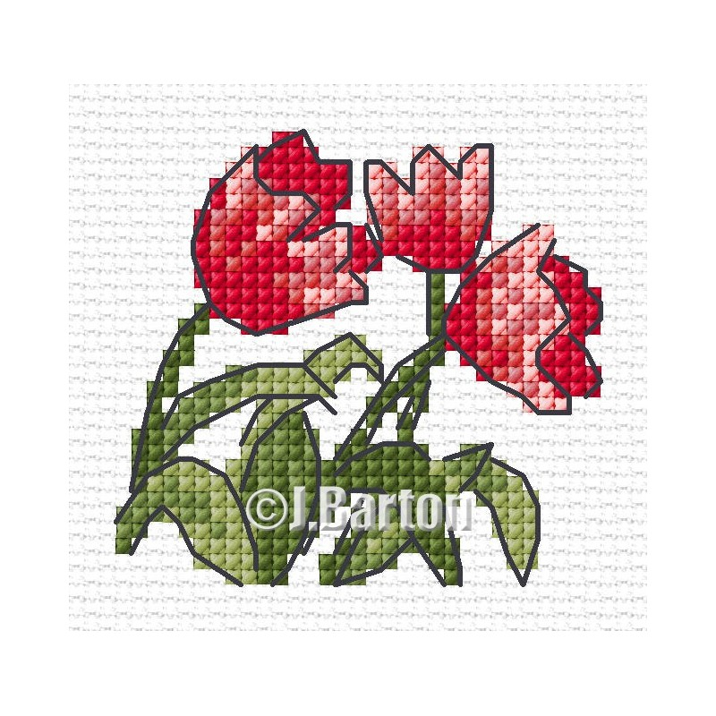 Red tulips cross stitch chart