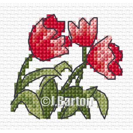 Red tulips (cross stitch chart download)