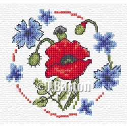 Poppy and cornflowers cross stitch chart