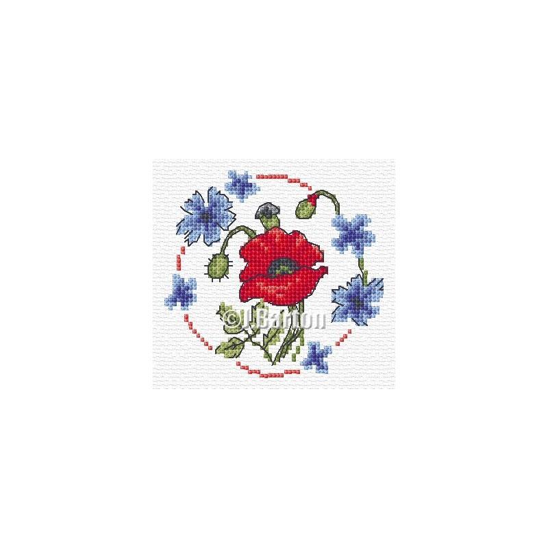 Poppy and cornflowers cross stitch chart