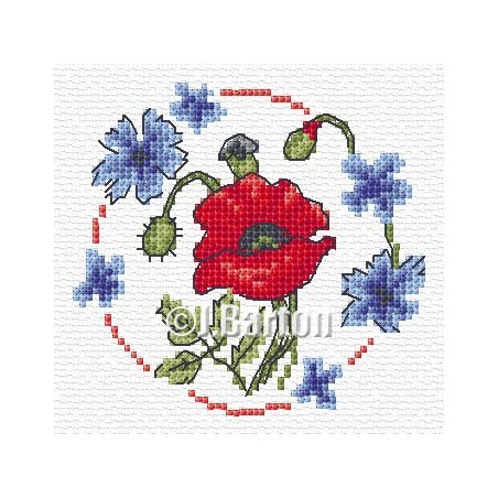 Poppy and cornflowers (cross stitch chart download)