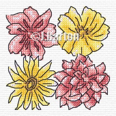 Quartet of flowers (cross stitch chart download)