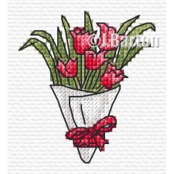 Red tulips bouquet cross stitch chart