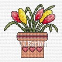 Flower pot cross stitch chart