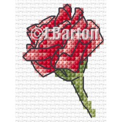 Single red rose (cross stitch chart download)