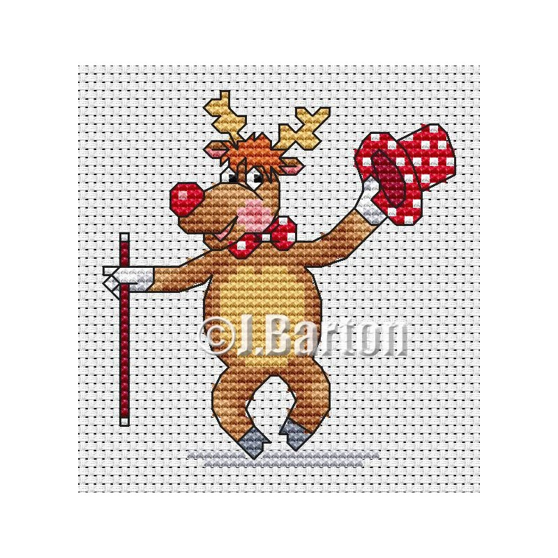 Dancing reindeer cross stitch chart