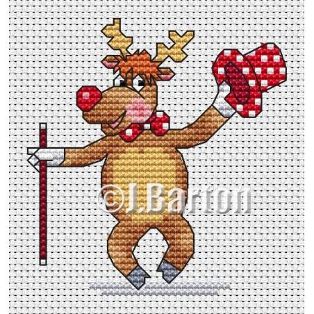 Dancing reindeer (cross stitch chart download)
