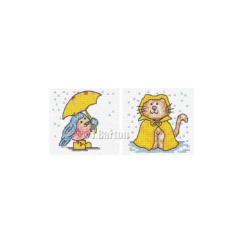 Bluebird and cat in the rain cross stitch chart