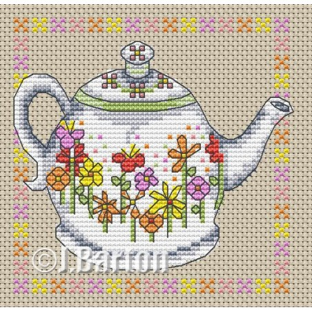 Floral teapot (cross stitch chart download)