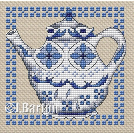 Delft teapot (cross stitch download)