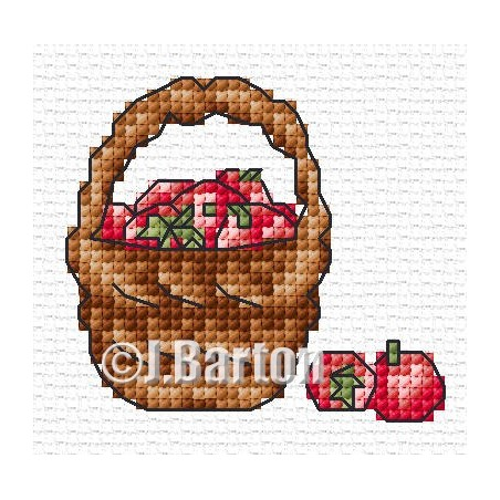 Basket of apples (cross stitch chart download)