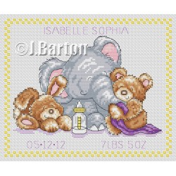 Animal baby sampler (cross stitch chart download)