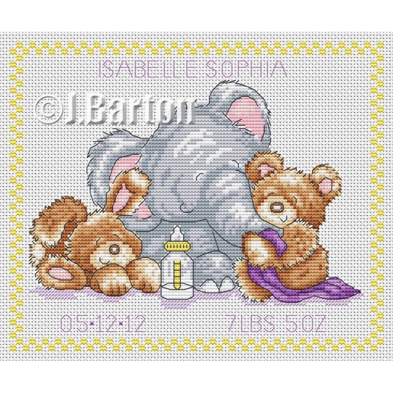 Animal baby sampler cross stitch
