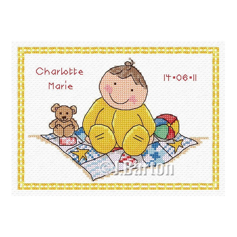 Welcome baby sampler cross stitch chart