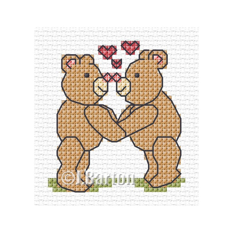 Bears in love cross stitch chart