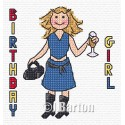 Birthday girl cross stitch chart