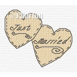 Just married love hearts (cross stitch chart download)