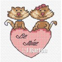Valentine cats cross stitch chart