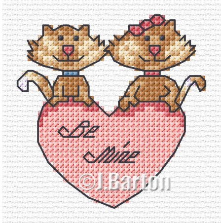 Valentine cats (cross stitch chart download)