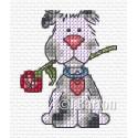 Valentine dog cross stitch chart