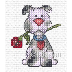 Valentine dog (cross stitch chart download)