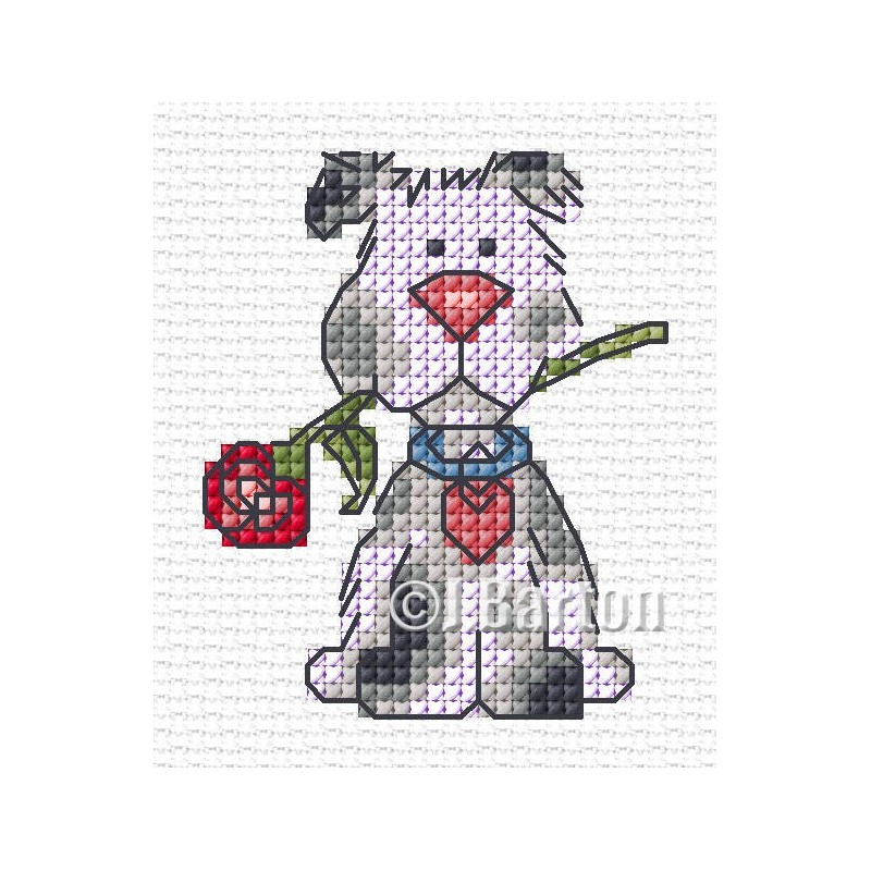 Valentine dog cross stitch chart