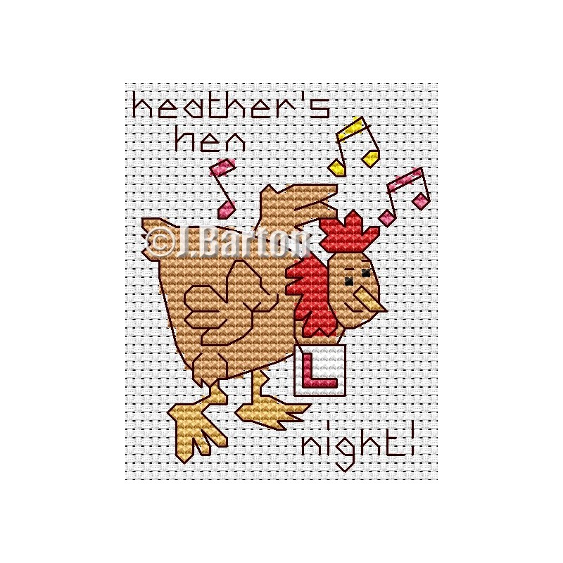 Hen night cross stitch chart