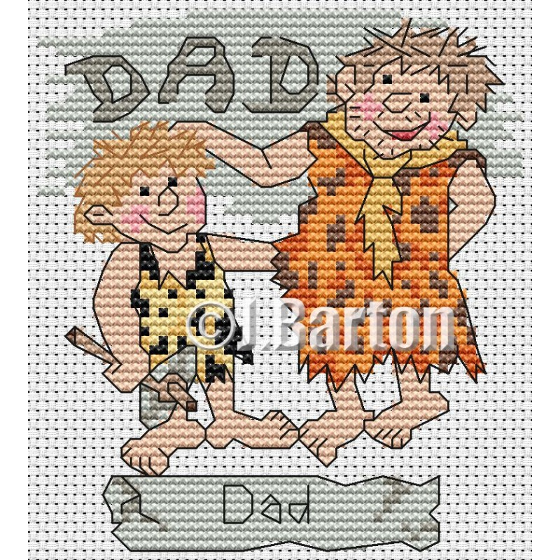 Caveman dad cross stitch chart