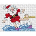 Water skiing santa cross stitch chart