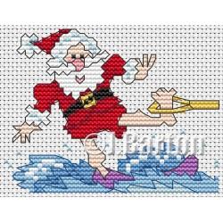 Water skiing santa cross stitch chart