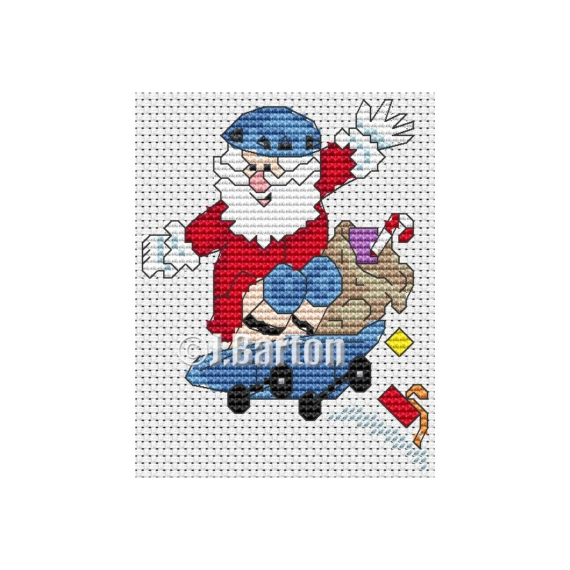 Skate boarding Santa cross stitch chart