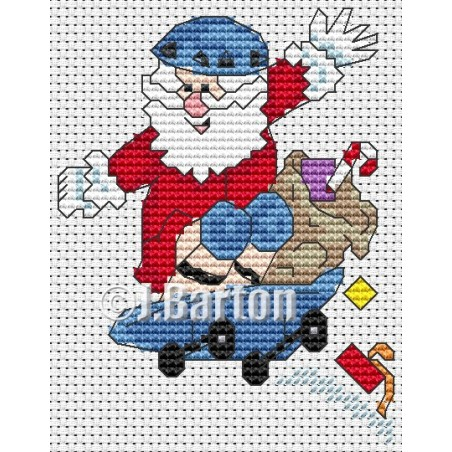 Skate boarding Santa (cross stitch chart download)