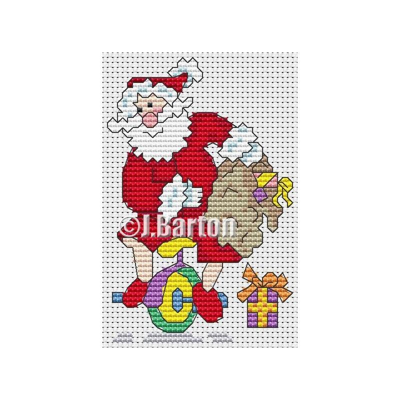 Santa's unicycle fun cross stitch chart