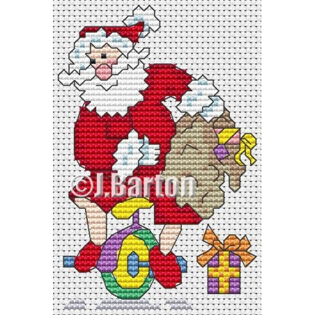 Santa's unicycle fun (cross stitch chart download)