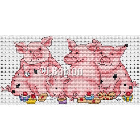 Piggy friends (cross stitch chart download)